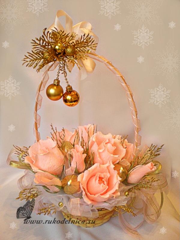 Новогодние букеты из конфет своими руками пошаговое фото